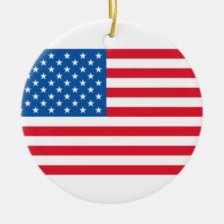 USA Flag stars and stripes Ceramic Ornament