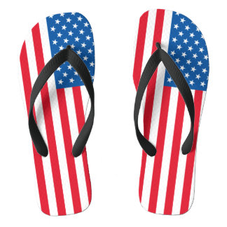 USA Flag stars and stripes Flip Flops