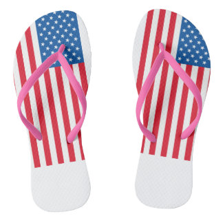 USA Flag stars and stripes Flip Flops