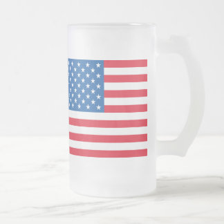 USA Flag stars and stripes Frosted Glass Beer Mug