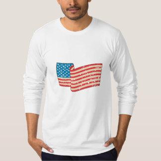 USA Flag Stars and Stripes Grunge Wavy Retro T-Shirt
