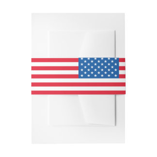 USA Flag stars and stripes Invitation Belly Band