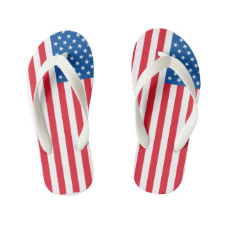 USA Flag stars and stripes Kid's Flip Flops