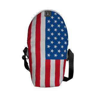 USA Flag stars and stripes Messenger Bags