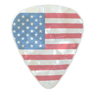 USA Flag stars and stripes Pearl Celluloid Guitar Pick