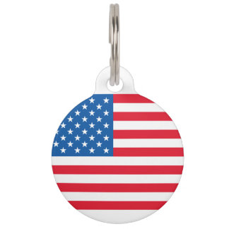 USA Flag stars and stripes Pet ID Tag