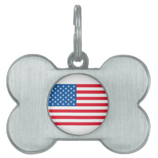 USA Flag stars and stripes Pet Name Tag