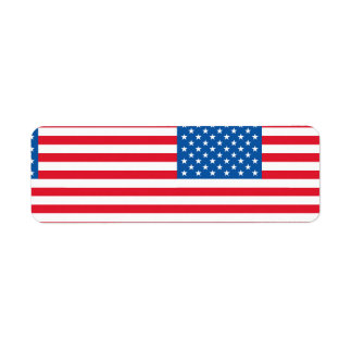 USA Flag stars and stripes Return Address Label
