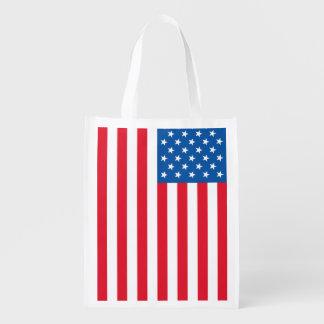 USA Flag stars and stripes Reusable Grocery Bag