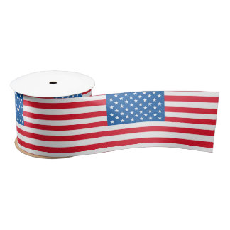 USA Flag stars and stripes Satin Ribbon