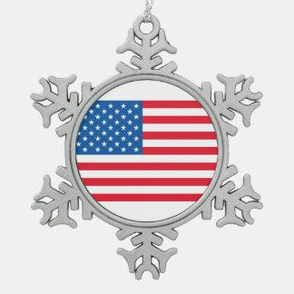 USA Flag stars and stripes Snowflake Pewter Christmas Ornament