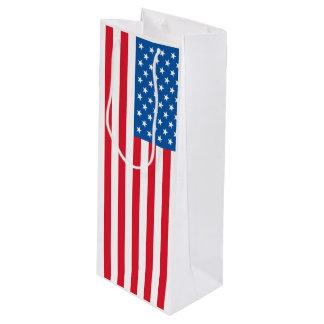 USA Flag stars and stripes Wine Gift Bag