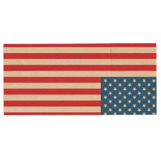USA Flag stars and stripes Wood USB Flash Drive
