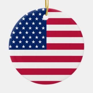 USA Flag Stars Stripes America Patriotic Christmas Ceramic Ornament