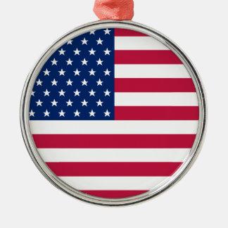 USA Flag Stars Stripes America Patriotic Christmas Metal Ornament