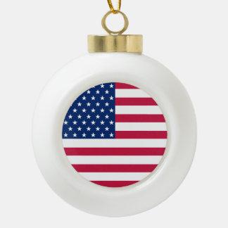 USA Flag Stars Stripes American Patriotic Holiday Ceramic Ball Christmas Ornament