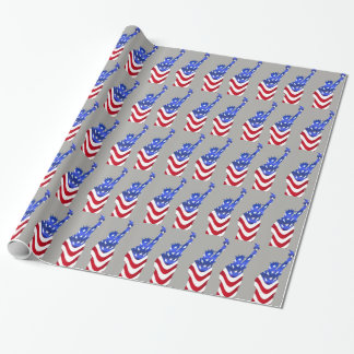 USA Flag Statue of Liberty Gray Wrapping Paper