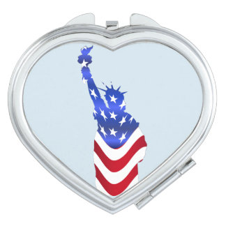 Usa Flag Statue of Liberty Heart Compact Mirror