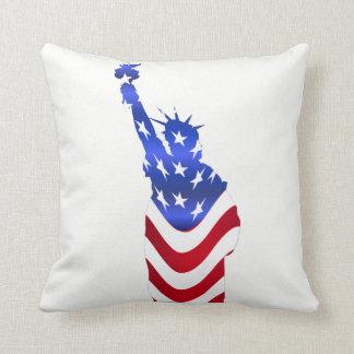 Usa Flag Statue of Liberty Throw Pillow