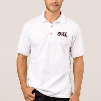 USA Flag Text Polo Shirt