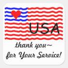 USA FLAG -thank you LOVE sticker