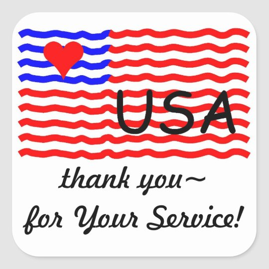 USA FLAG -thank you LOVE sticker