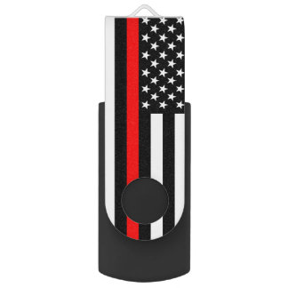 USA Flag The Thin Red Line Theme USB Flash Drive