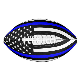 USA Flag Thin Blue Line Symbolic Memorial on a Football