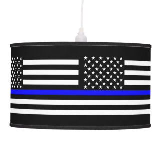 USA Flag Thin Blue Line Symbolic Memorial on a Pendant Lamp