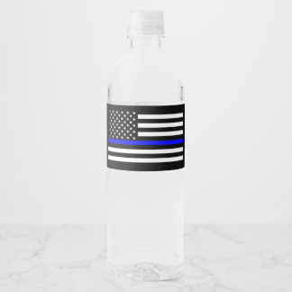 USA Flag Thin Blue Line Symbolic Memorial on a Water Bottle Label