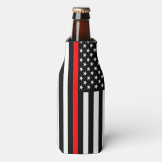 USA Flag Thin Red Line Symbolic Memorial on a Bottle Cooler