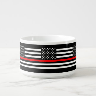 USA Flag Thin Red Line Symbolic Memorial on a Bowl