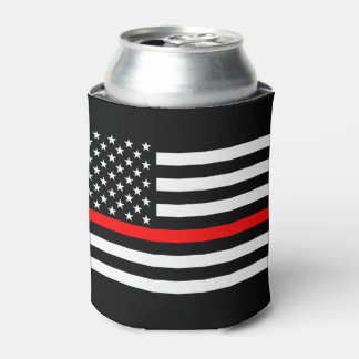 USA Flag Thin Red Line Symbolic Memorial on a Can Cooler