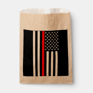 USA Flag Thin Red Line Symbolic Memorial on a Favour Bag