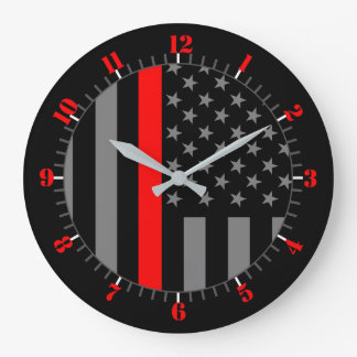 USA Flag Thin Red Line Symbolic Memorial on a Large Clock