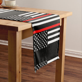 USA Flag Thin Red Line Symbolic Memorial on a Short Table Runner