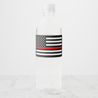 USA Flag Thin Red Line Symbolic Memorial on a Water Bottle Label