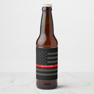 USA Flag Thin Red Line Symbolic Your Text on a Beer Bottle Label