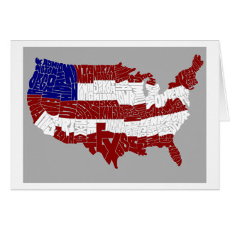 USA Flag Typography Map Gift Card - BLANK