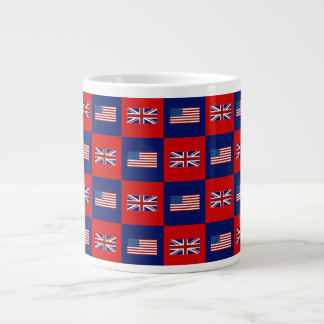 USA Flag & UK Flag Pattern Large Coffee Mug