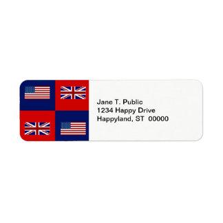 USA Flag & UK Flag Pattern Return Address Label