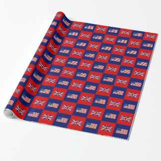 USA Flag & UK Flag Pattern Wrapping Paper