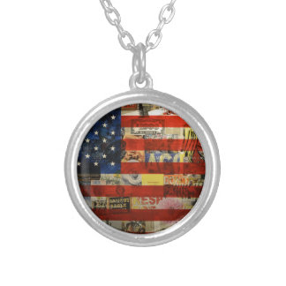 Usa Flag United States American Flag America Silver Plated Necklace