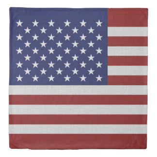 USA Flag Vintage Look Duvet Cover White Back Set