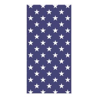 USA Flag White Stars on Flag Blue Photo Card