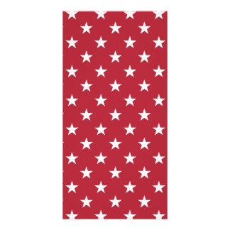 USA Flag White Stars on Flag Red Photo Card