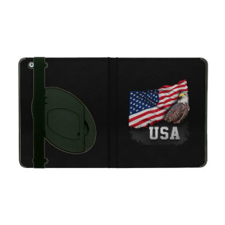 USA Flag with Bald Eagle 4th of July Case For iPad
