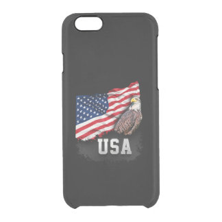 USA Flag with Bald Eagle 4th of July Clear iPhone 6/6S Case