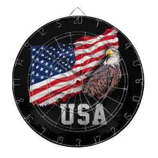 USA Flag with Bald Eagle 4th of July Dart Board