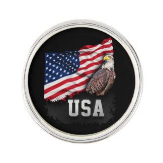 USA Flag with Bald Eagle 4th of July Lapel Pin
